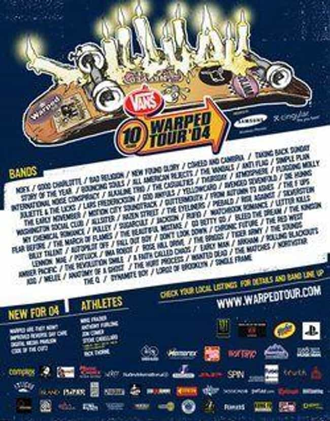 Warped Tour 2004 is listed (or ranked) 3 on the list All 25 Warped Tour Lineups, Ranked