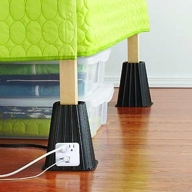 Bed Lifts is listed (or ranked) 1 on the list Dorm Decorating Hacks To Improve A Tiny Room On A Budget