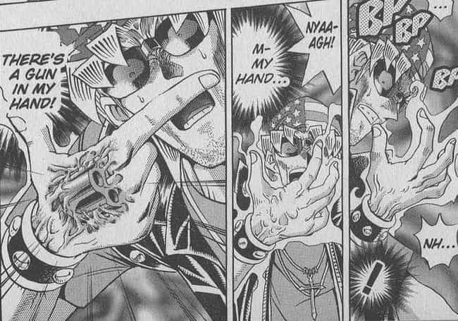 Pegasus Forces Bandit Keith To... is listed (or ranked) 2 on the list 15 Dark Moments From The 'Yu-Gi-Oh!' Manga That Were Cut From The Anime