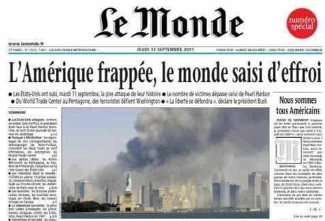 France: 'Le Monde' is listed (or ranked) 3 on the list Here's What Newspapers Around The World Looked Like The Day After 9/11