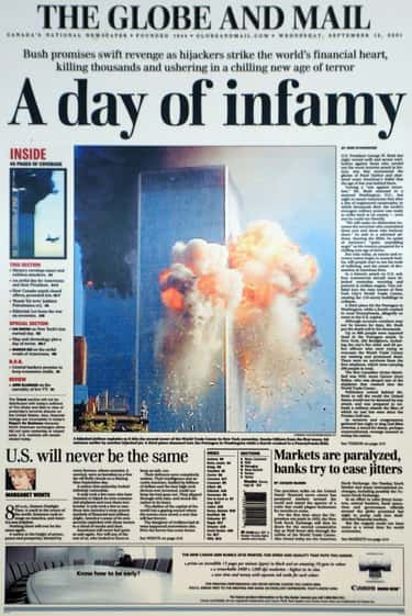 Canada: 'The Globe And Mail' is listed (or ranked) 2 on the list Here's What Newspapers Around The World Looked Like The Day After 9/11