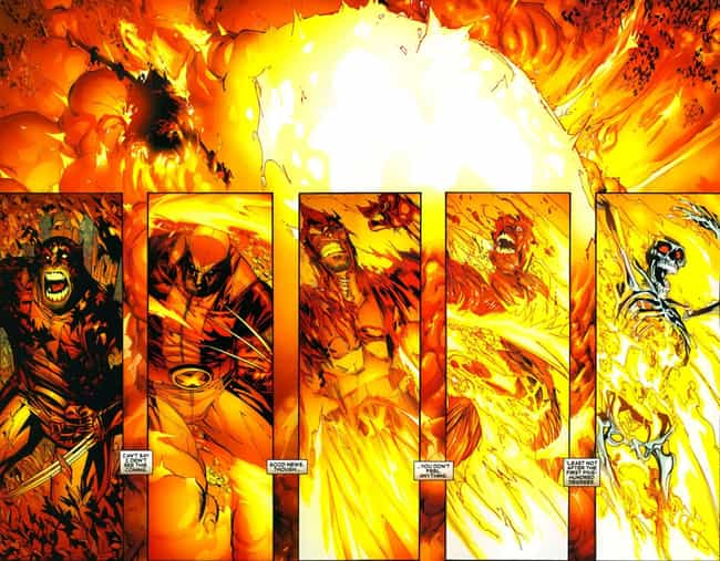 Nitro Incinerates Logan Down T... is listed (or ranked) 4 on the list The Most Messed Up Things That Have Happened To Wolverine In The Comics