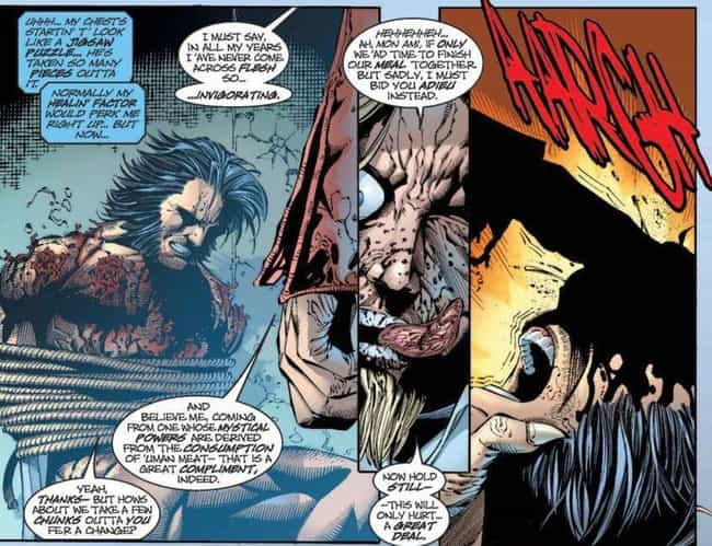 Wolverine Is Eaten Alive By An... is listed (or ranked) 2 on the list The Most Messed Up Things That Have Happened To Wolverine In The Comics