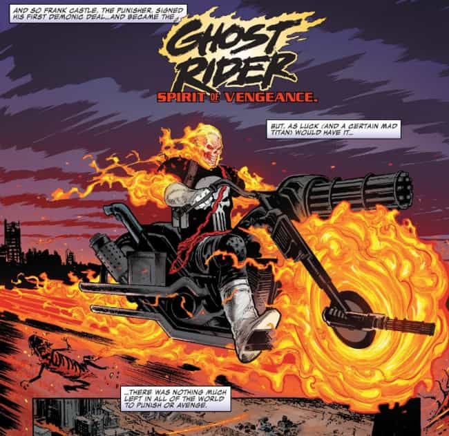 The New Ghost Rider Seeks Payb... is listed (or ranked) 4 on the list How The Punisher Became The Cosmic Ghost Rider And Why He's Road-Tripping With A Baby Thanos