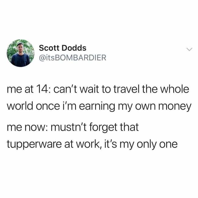 Tup'd Out is listed (or ranked) 4 on the list Hilarious Memes About Adulthood That Are Way Too Real