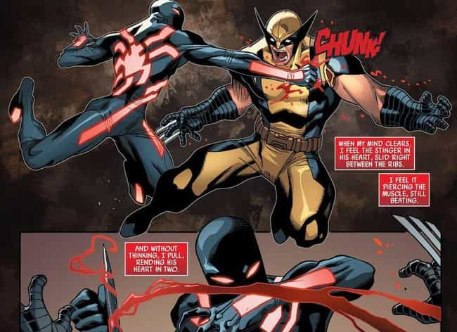 Breaking Wolverine's Heart In ... is listed (or ranked) 3 on the list The 14 Most Violent Acts Ever Committed By Spider-Man