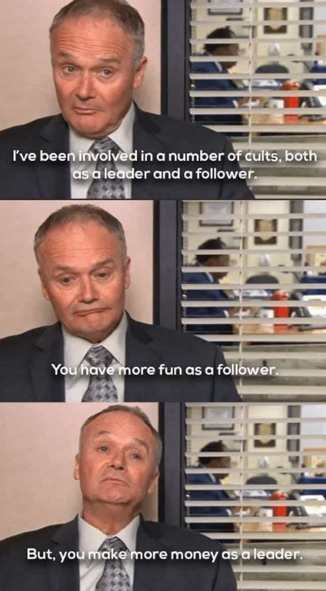 When He Gives Good Advice is listed (or ranked) 3 on the list The Best Creed Moments On 'The Office'