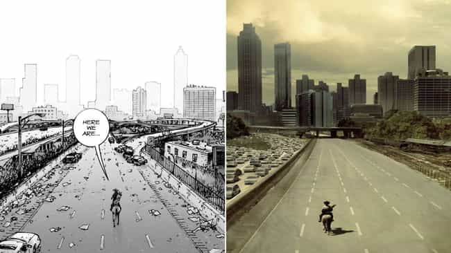 Rick Approaches Atlanta is listed (or ranked) 2 on the list Scenes From 'The Walking Dead' TV Show That Came Straight From The Comics