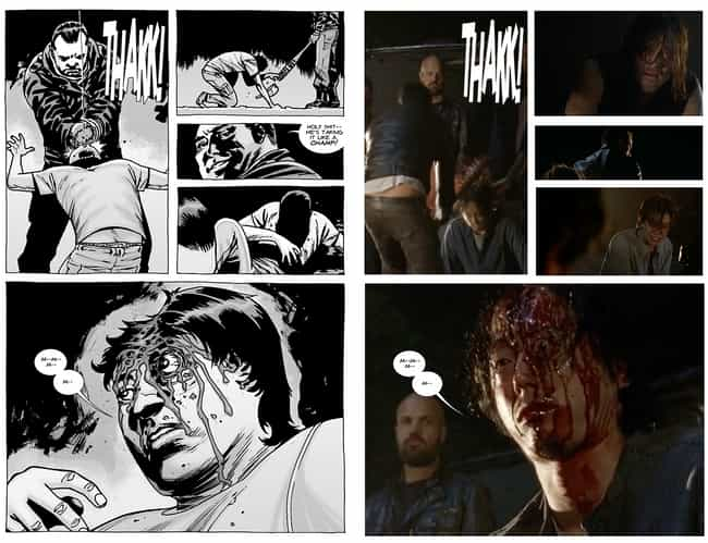 Glenn's Introduction To Lucill... is listed (or ranked) 3 on the list Scenes From 'The Walking Dead' TV Show That Came Straight From The Comics