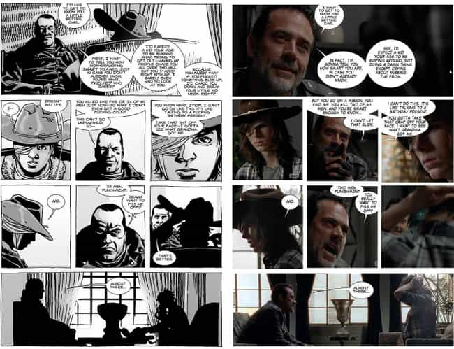Carl And Negan's Intimate Meet... is listed (or ranked) 4 on the list Scenes From 'The Walking Dead' TV Show That Came Straight From The Comics