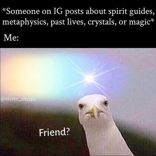 Birds Of A Feather is listed (or ranked) 2 on the list The 18 Funniest Memes About Crystals To Give You Only Good Vibes