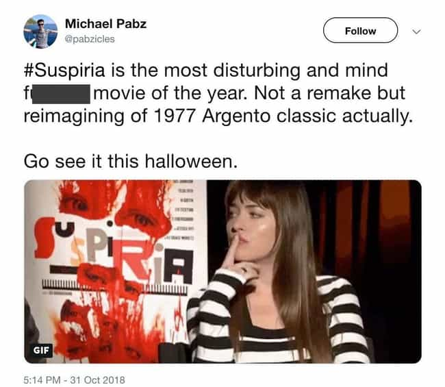 It's Disturbing, But It's Done... is listed (or ranked) 3 on the list Everyone Is Freaking Out Over 'Suspiria'