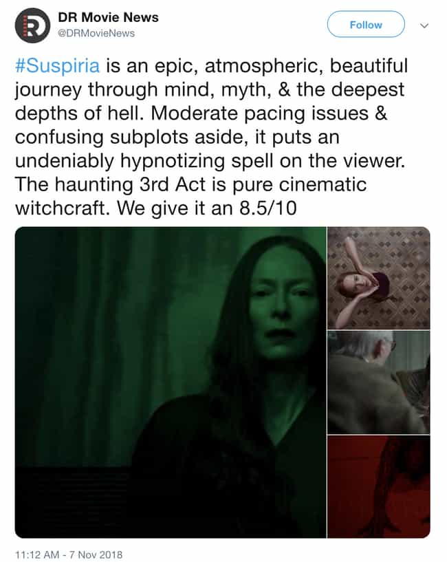 A Journey Through Mind, Myth, ... is listed (or ranked) 1 on the list Everyone Is Freaking Out Over 'Suspiria'