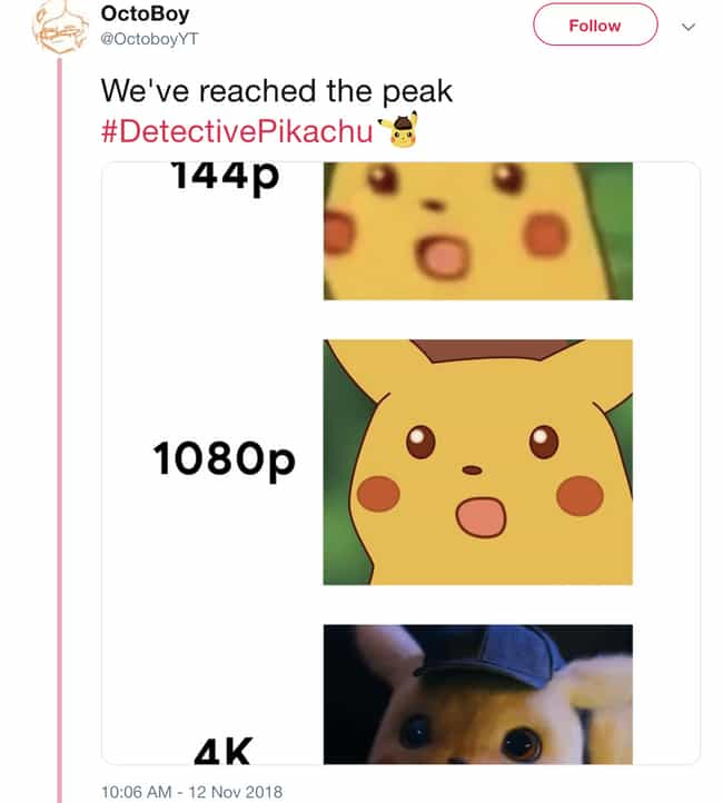 1080p HD Wasn't Good Enough is listed (or ranked) 3 on the list The First Trailer For 'Detective Pikachu' Is Out And People Are Losing It