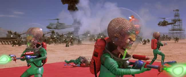 The Aliens Are A Mix Of ... is listed (or ranked) 2 on the list 'Mars Attacks!' Was Tim Burton's Ultimate Unregulated Experiment And It's Stranger Than You Remember