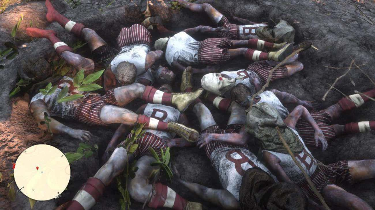 Mass Pit Of Athletes is listed (or ranked) 4 on the list Creepiest Easter Eggs In 'Red Dead Redemption 2'