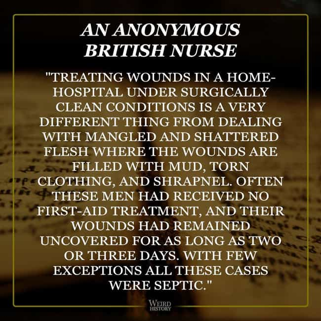 Nurses Struggled To Keep... is listed (or ranked) 4 on the list Firsthand Accounts From Nurses Who Served During WWI
