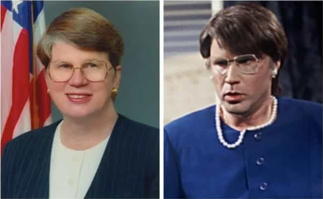 Janet Reno - Will Ferrell is listed (or ranked) 4 on the list 21 Real Politicians Vs Their 'SNL' Impressions