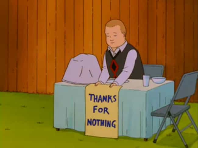 He Boycotts Thanksgiving In So... is listed (or ranked) 4 on the list Bobby On 'King Of The Hill' Is A Low-Key Progressive Hero