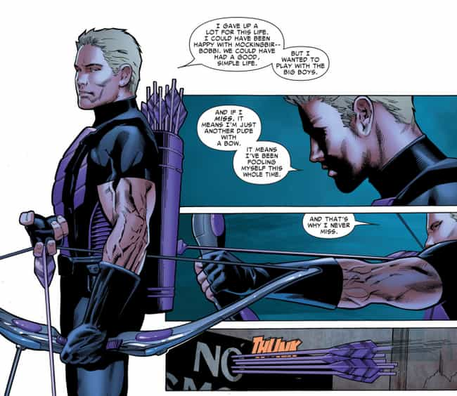 Hawkeye Holds Himself To... is listed (or ranked) 1 on the list Here's Why It's Time To Stop Making Fun Of Hawkeye