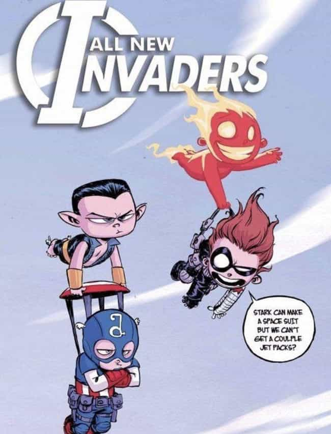 The Invaders Could Really Use ... is listed (or ranked) 3 on the list Skottie Young Art That Perfectly Capture Your Favorite Marvel Heroes As Toddlers