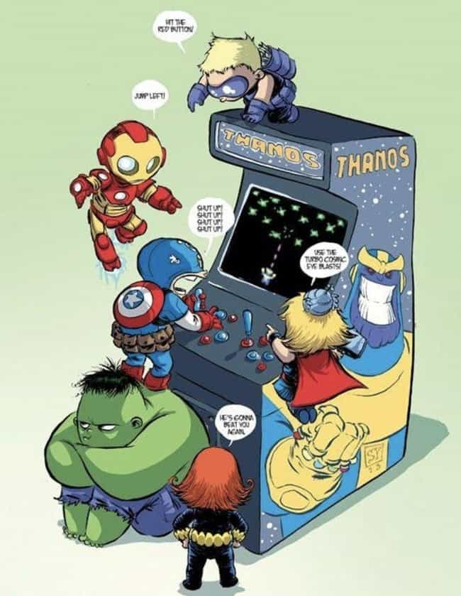 Baby Avengers Take On Thanos is listed (or ranked) 3 on the list Skottie Young Art That Perfectly Capture Your Favorite Marvel Heroes As Toddlers
