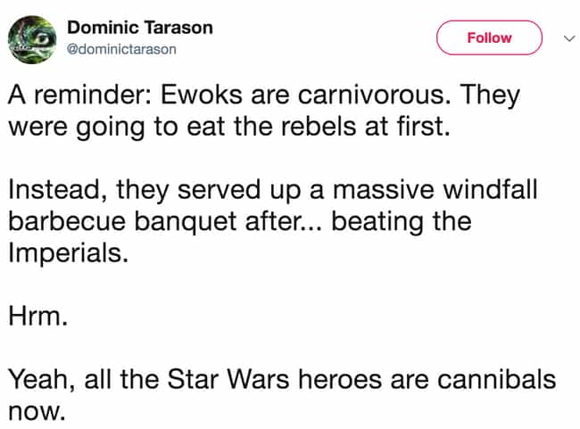 The Rebels May Eat Their Own K... is listed (or ranked) 8 on the list 'Star Wars' Memes That Make It Perfectly Clear The Empire Did Nothing Wrong