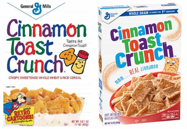 Cinnamon Toast Crunch, 1980s V... is listed (or ranked) 4 on the list How Cereal Boxes Have Changed Over Time