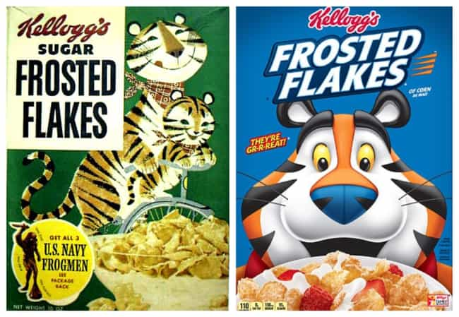 Frosted Flakes, 1950s Vs. 2019 is listed (or ranked) 2 on the list How Cereal Boxes Have Changed Over Time