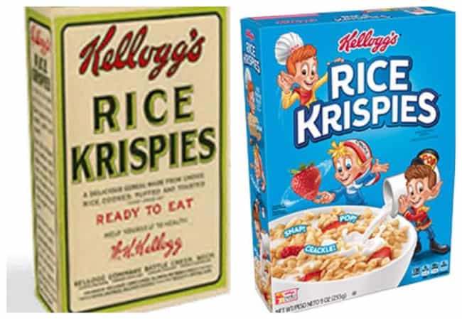 Rice Krispies, 1928 Vs. 2019 is listed (or ranked) 4 on the list How Cereal Boxes Have Changed Over Time