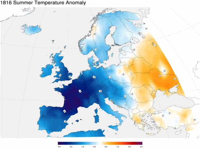 The Global Climate Dropped Aro... is listed (or ranked) 3 on the list 1816 Was Known As 'The Year Without A Summer' - Here's What Happened
