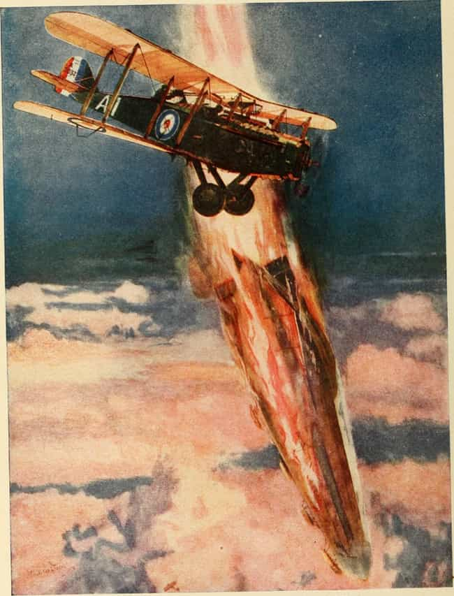 A Zeppelin's Lurid End A... is listed (or ranked) 2 on the list The Best WWI Paintings