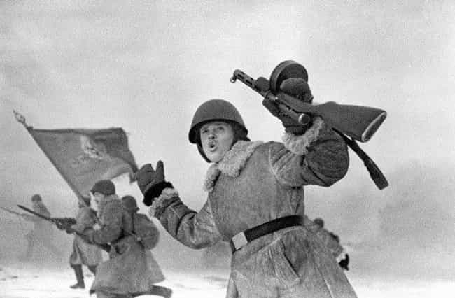 Jan. 1, 1943: Soviet Men Flee ... is listed (or ranked) 4 on the list Haunting Combat Photography From World War II