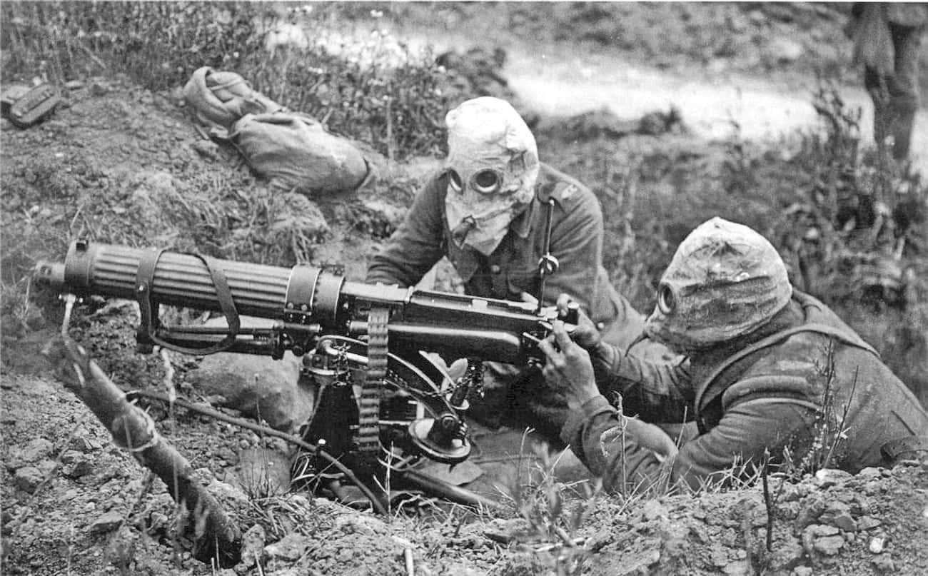 British Forces Wearing Gas Mas is listed (or ranked) 3 on the list Haunting Combat Photography From WWI