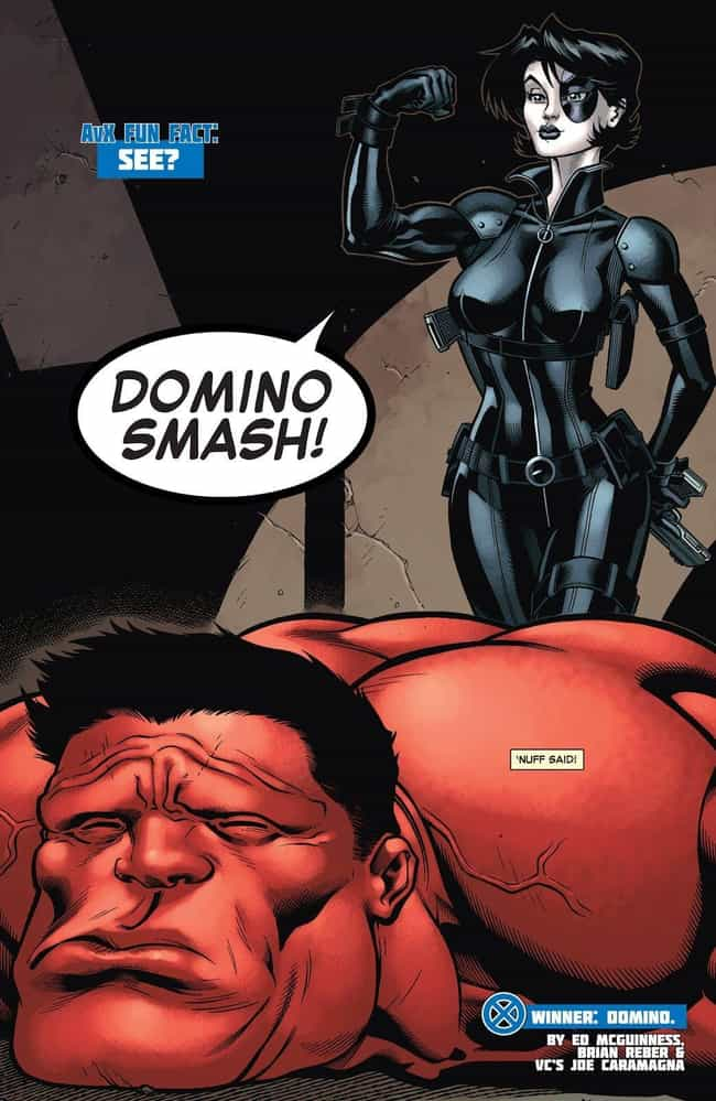 Domino Makes Short Work ... is listed (or ranked) 4 on the list Superheroes Who Defeated Opponents Way Outside Of Their Weight Class