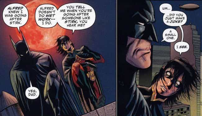 Ribbing Robin is listed (or ranked) 4 on the list 14 Times Batman Actually Cracked A Joke