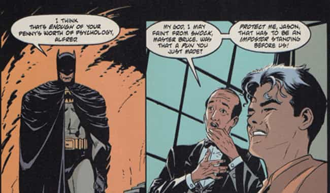 Alfred Punnyworth is listed (or ranked) 3 on the list 14 Times Batman Actually Cracked A Joke