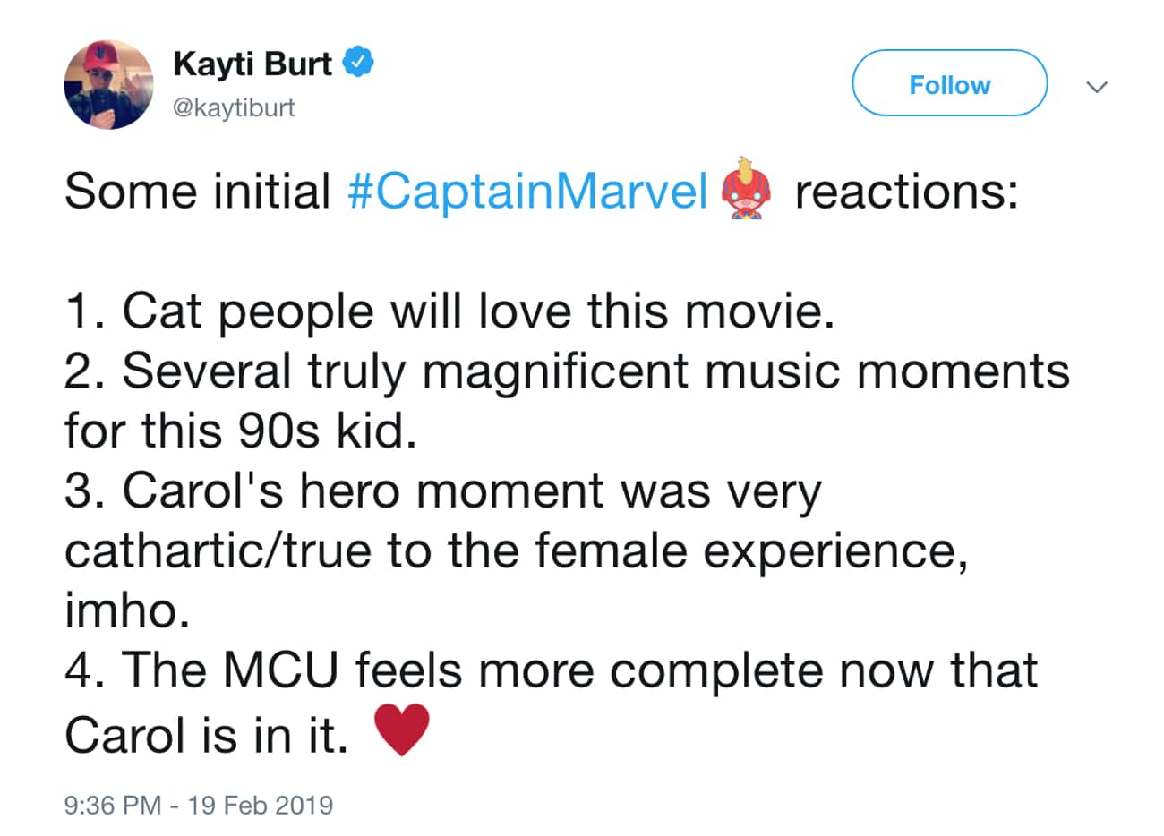 Prepare For '90s Music Nostalg is listed (or ranked) 1 on the list The Internet Reacts To Early 'Captain Marvel' Screenings