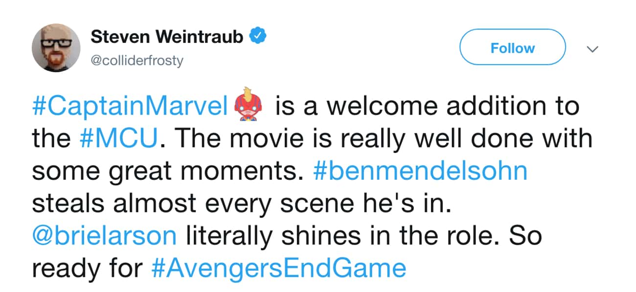 Ben Mendelsohn Is Great As Tal is listed (or ranked) 2 on the list The Internet Reacts To Early 'Captain Marvel' Screenings