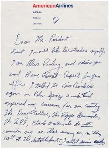 Presley Wrote A Letter To Nixon On American Airlines Stationary