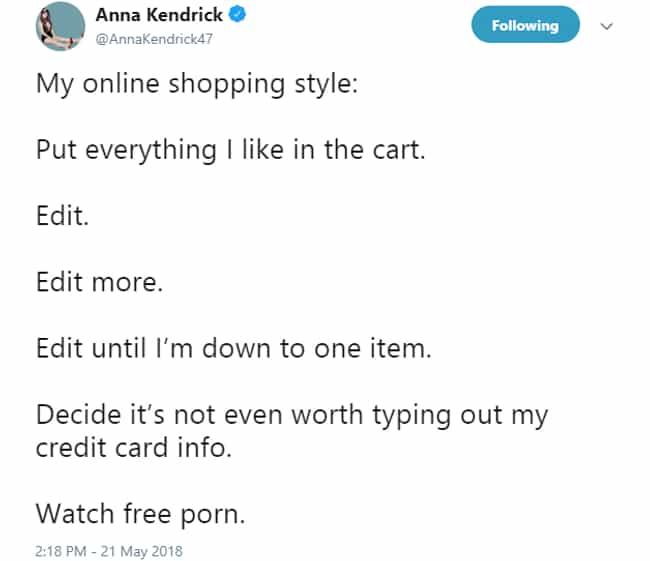 She Confessed Her Online Shopp... is listed (or ranked) 1 on the list Times Anna Kendrick Was Exactly As Anna Kendrick As You'd Hoped She'd Be