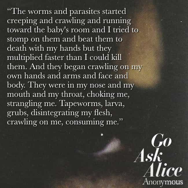 The Main Character Sees Worms ... is listed (or ranked) 2 on the list The Most Messed Up Excerpts From 'Go Ask Alice'