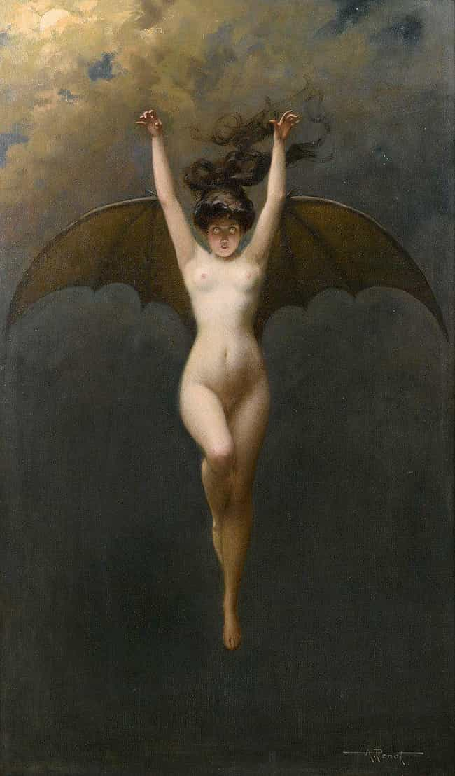 'The Bat-Woman' By Albert Jose... is listed (or ranked) 2 on the list The Darkest Paintings From Art History Any Goth Will Appreciate