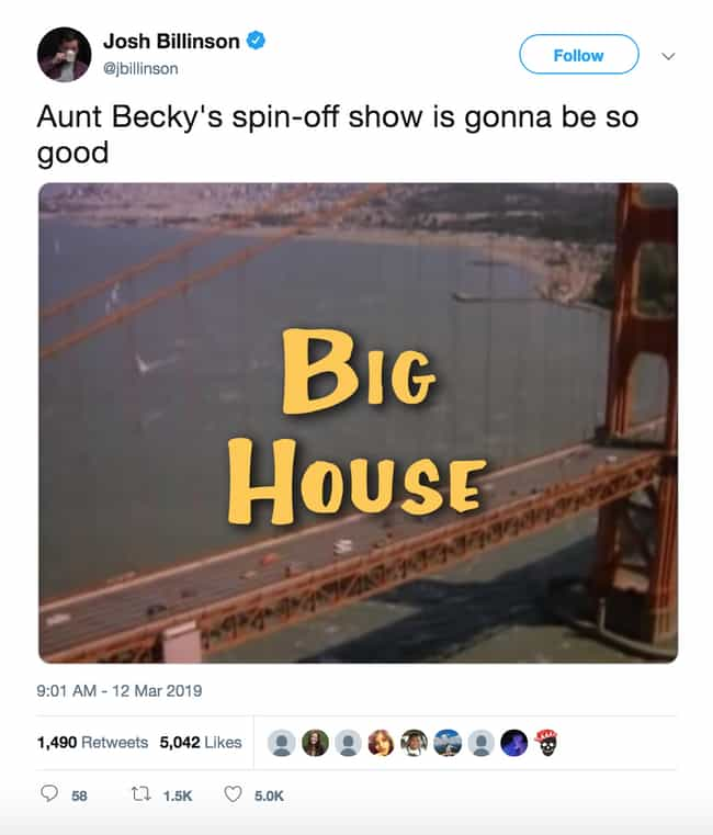 The 'Full House' Spin-Off No O... is listed (or ranked) 2 on the list 20 Twitter Reactions To The Arrests Of Felicity Huffman And Lori Loughlin