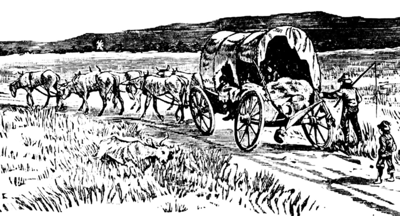 By Covered Wagon In The Early 1800s: 4-5 Months