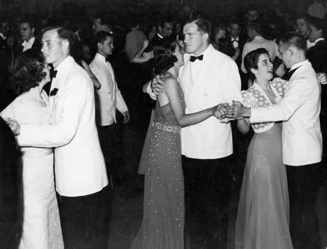 Sweaters And Sparkles, 1938 is listed (or ranked) 1 on the list All The Styles High Schoolers Have Worn To The Prom Since Its Inception
