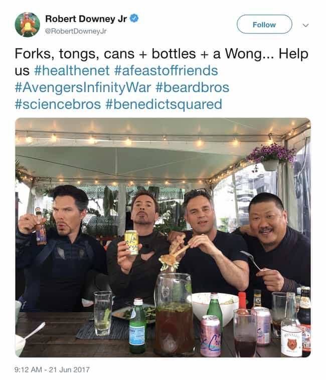 They Eat Together is listed (or ranked) 1 on the list Wholesome MCU Actor Tweets That Prove They're Friends When The Cameras Stop Rolling