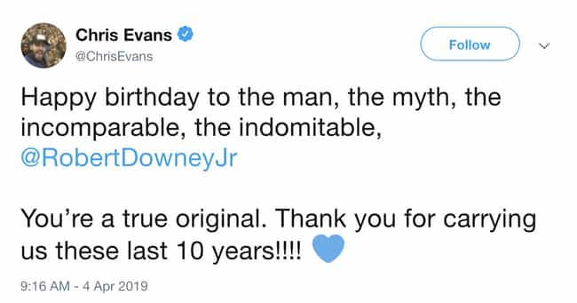 They Pay Homage To The One Who... is listed (or ranked) 2 on the list Wholesome MCU Actor Tweets That Prove They're Friends When The Cameras Stop Rolling