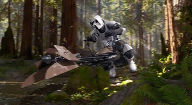 74-Z Speeder Bike is listed (or ranked) 2 on the list The Best 'Star Wars' Vehicles That Can't Go Into Space
