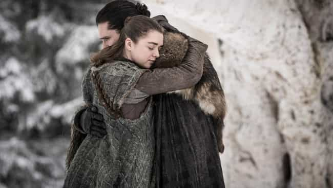 Jon Snow And Arya Stark ... is listed (or ranked) 1 on the list The Best Reunions On 'Game of Thrones'